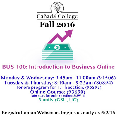 Cañada College Fall 2016 Courses!
